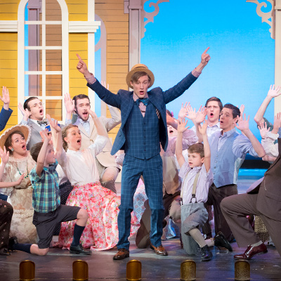 "Students actors in ""Music Man,"" performed in Cedarville's DeVries Theatre"