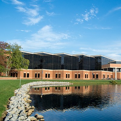 The Stevens Student Center sits by Cedar Lake