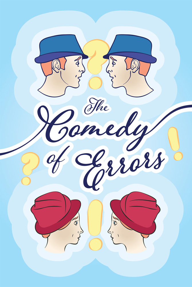 The Comedy of Errors (poster with a male and female confused face)