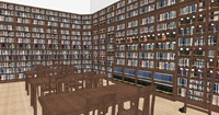 A rendering of the inside of the library and reading room