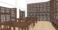 A rendering of the inside of the new library and reading room