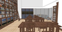 A rendering of the inside new library and rendering room from the back