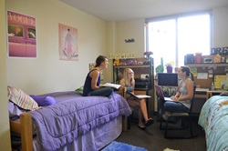 Students in a typical dorm room