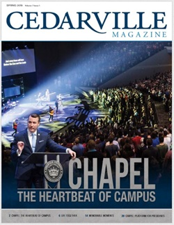 Magazine cover with Dr. White preaching in chapel