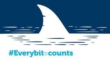 Giving day logo with shark fin #everybitecounts