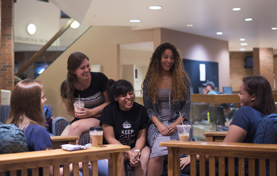 Students have distraction-free conversations during Coffee and Community