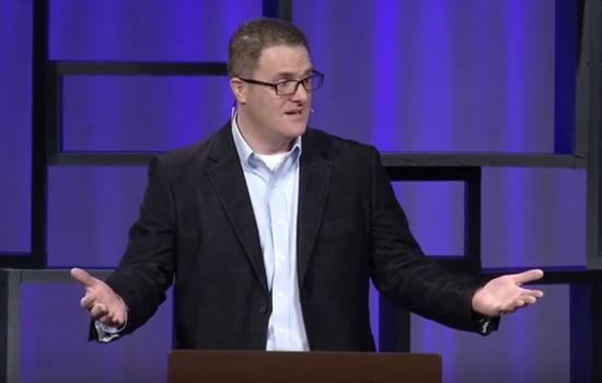 Denny Burk speaking in chapel