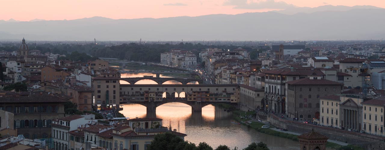 Picture of the Arno River and historic city center in Florence, Italy
