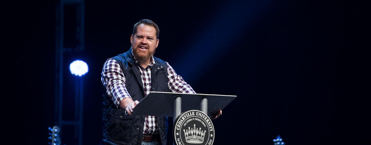 James Hilton speaking in chapel