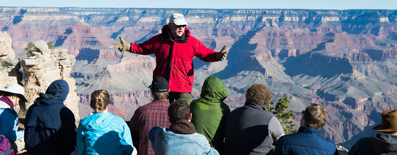 Dr. John Whitmore takes speaks to students at Grand Canyon