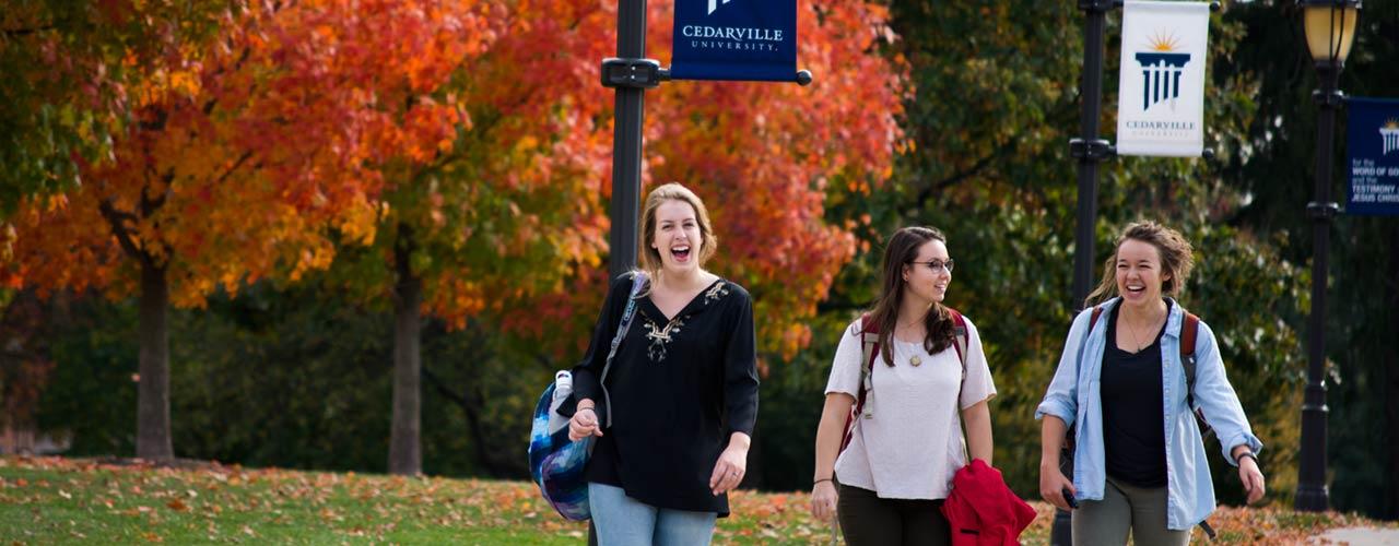 Women walking on campus