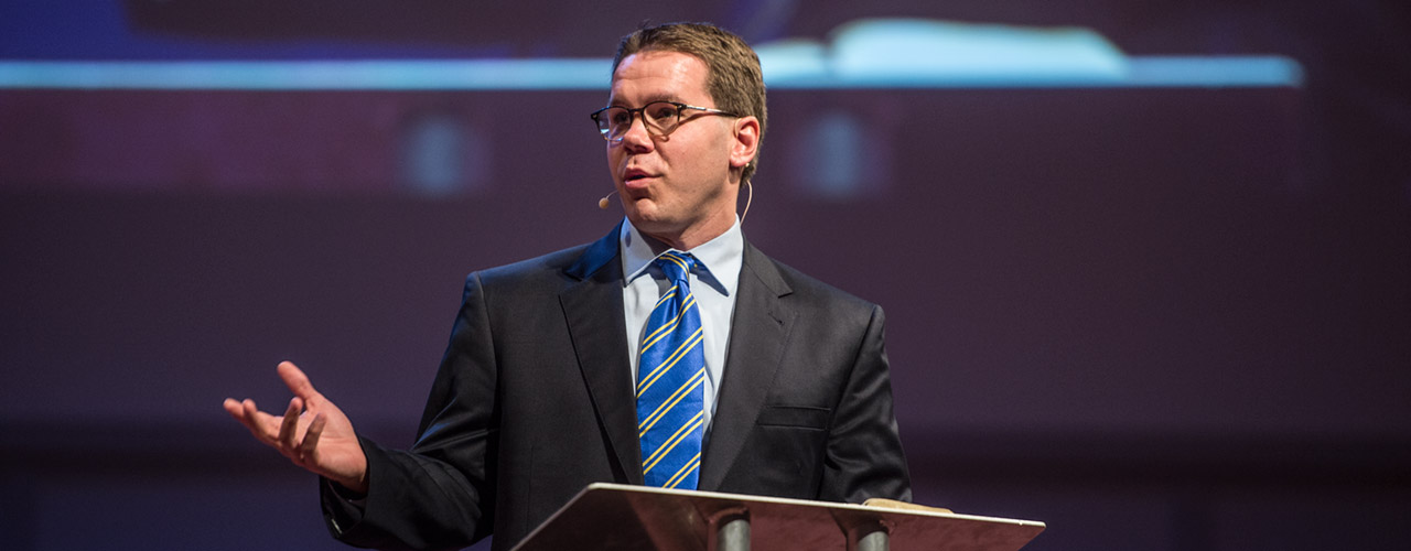 Dr. Heath Lambert speaking in Cedarville's chapel.