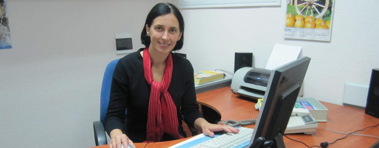 Anya Izyumtseva, pictured at her desk.