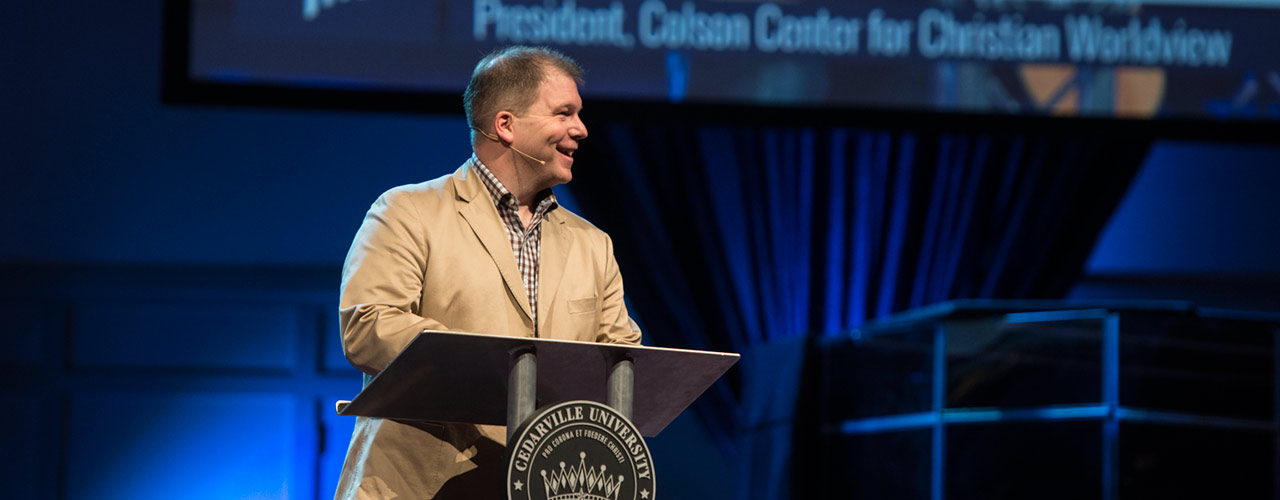 John Stonestreet speaking in chapel at Cedarville.