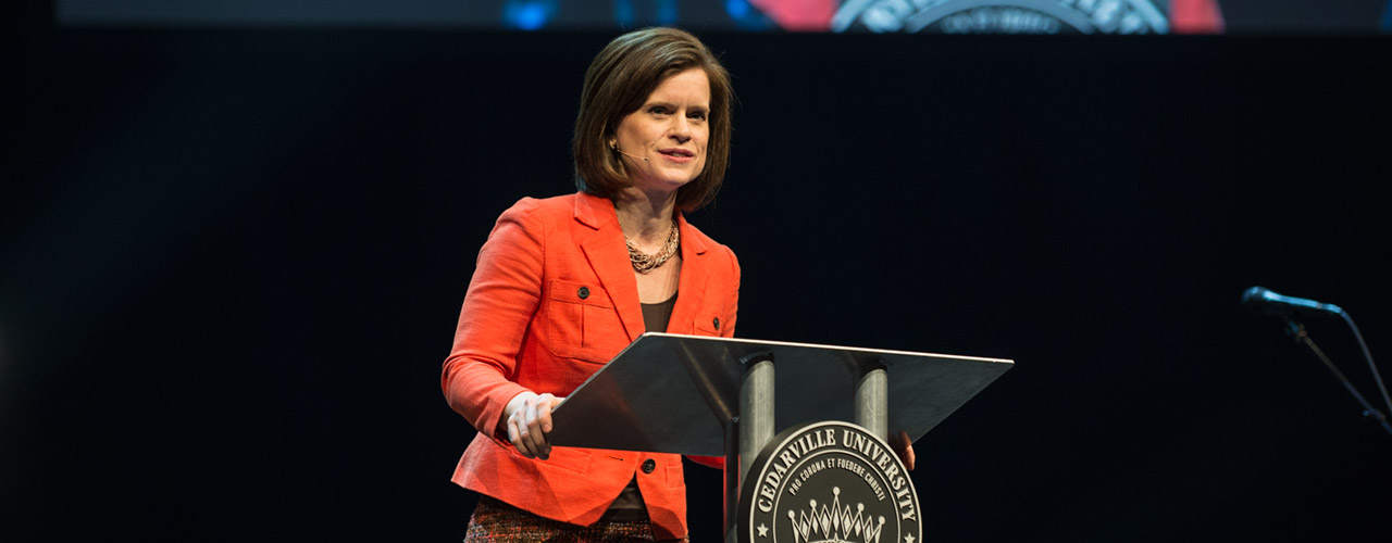 Jennifer Marshall speaking in chapel at Cedarville