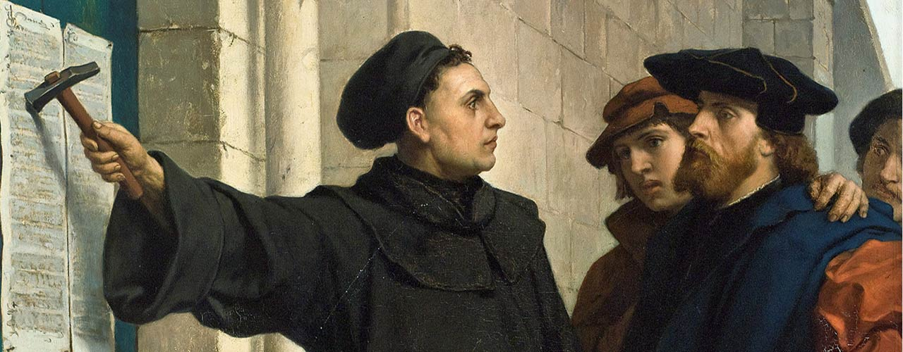 Painting depicting Luther nailing 95 Theses to door