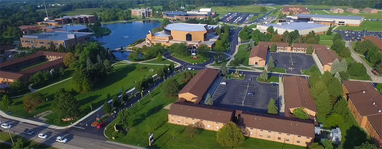 Aerial view of Cedarville University