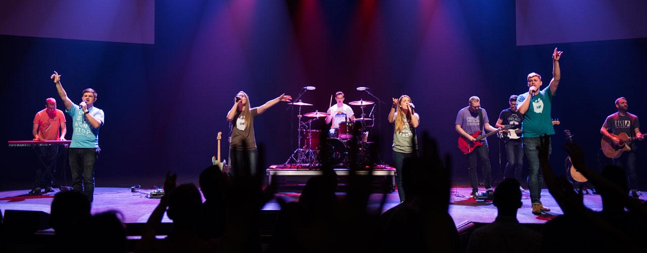 Heartsong worship band performing