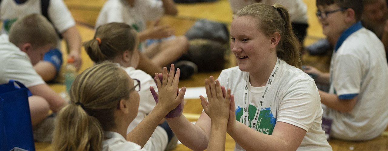 Two girls playing a game during last year's Junior Jam at Cedarville University.