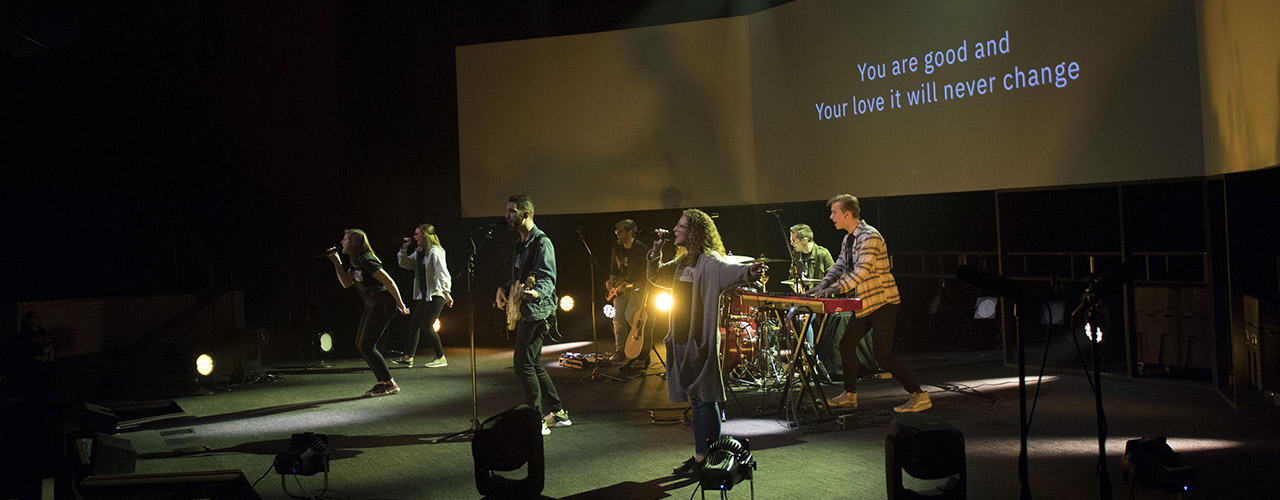 Cedarville worship students performing in chapel.