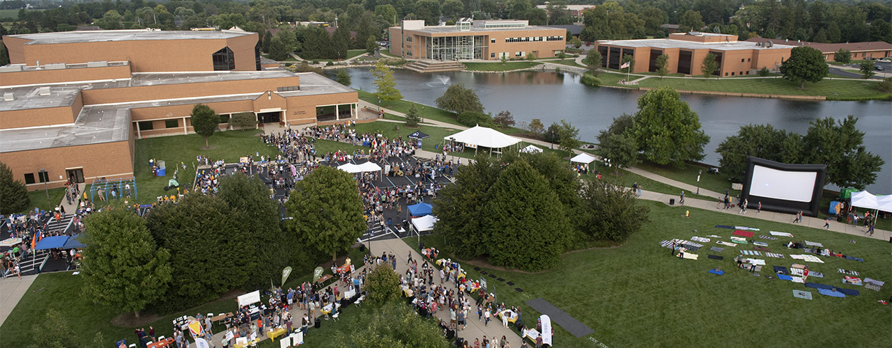 Cedarville University campus during Involvement Fair