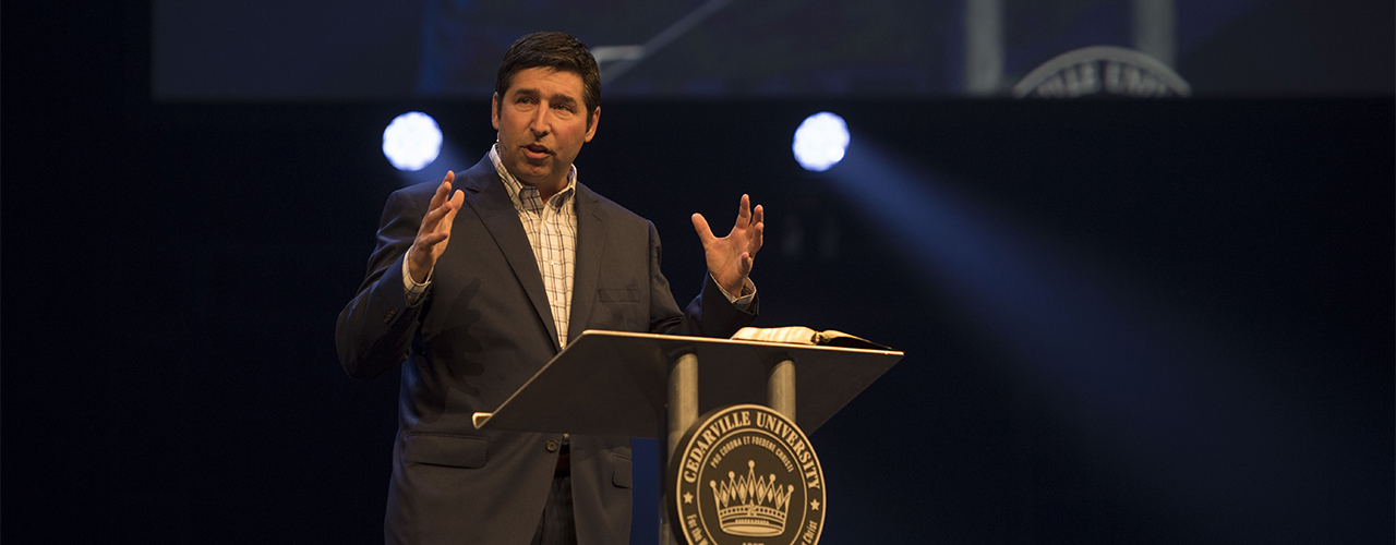 Cedarville University alumnus and trustee Tim Armstrong, senior pastor of The Chapel in Akron, Ohio will speak in chapel on November 8, 2018.
