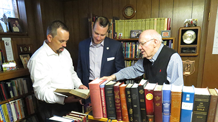 Dr. Jason Lee, dean of the School of Biblical and Theological Studies at Cedarville University, Dr. Thomas White, president of Cedarville University, and Dr. Warren Wiersbe, prolific author, former Moody Church pastor, and Back to the Bible radio preacher