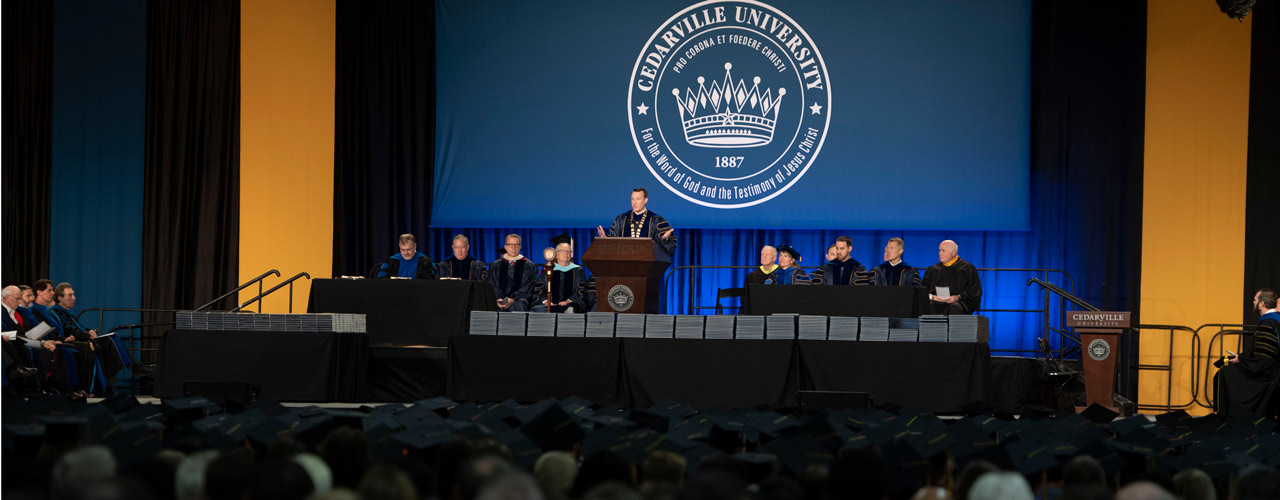Dr. White speaking at commencement 2019