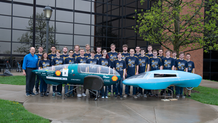 Shark car and Cedarville Supermileage team