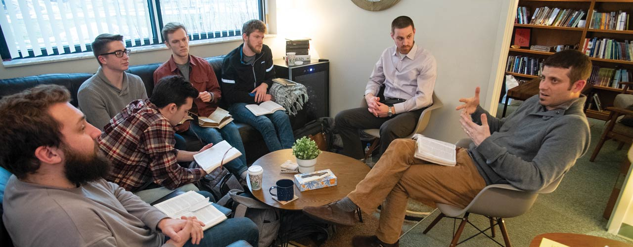 Student chaplains meeting with Jon Wood, vice president of student life & Christian ministries, and Aaron Cook, director of discipleship ministries.