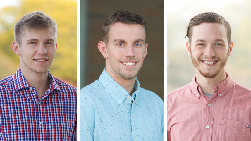Brandt Howett and Jordan Ernst, senior nursing students, and Josiah Lansford, a senior computer science and information technology management double major