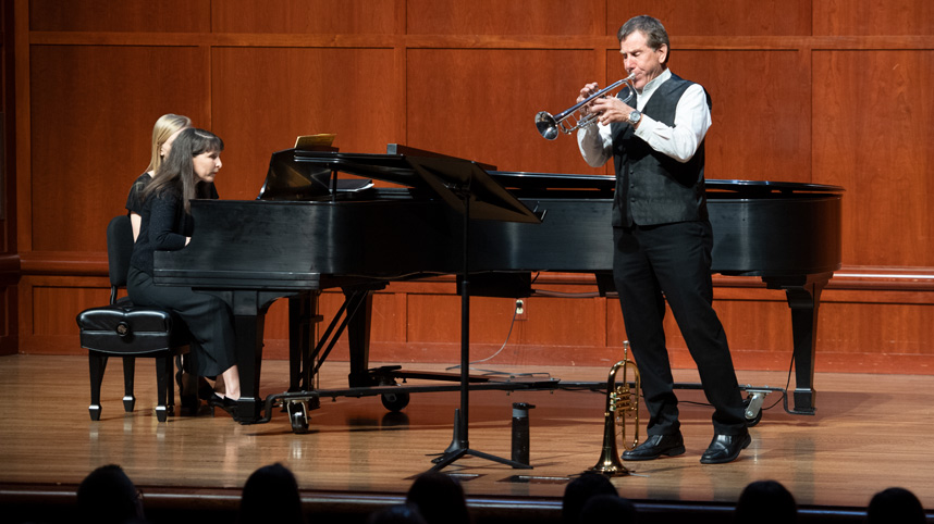 Professor Charlie Pagnard performs during a recital