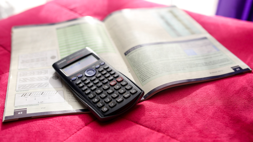 calculator and math book