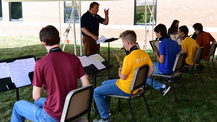 Jazz Band practicing outdoors
