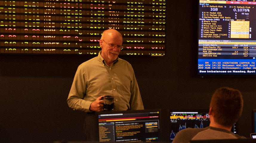 Dr. Bill Ragle in the Cedarville stock ticker room