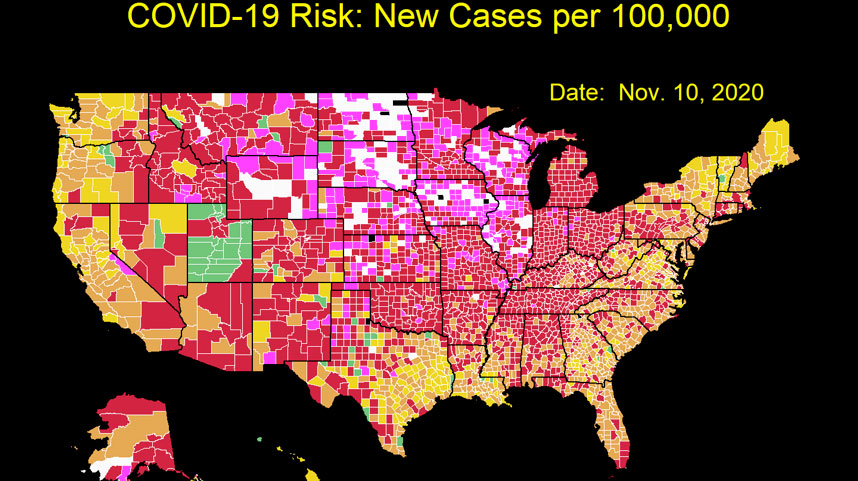 COVID visualization cases per 100,000