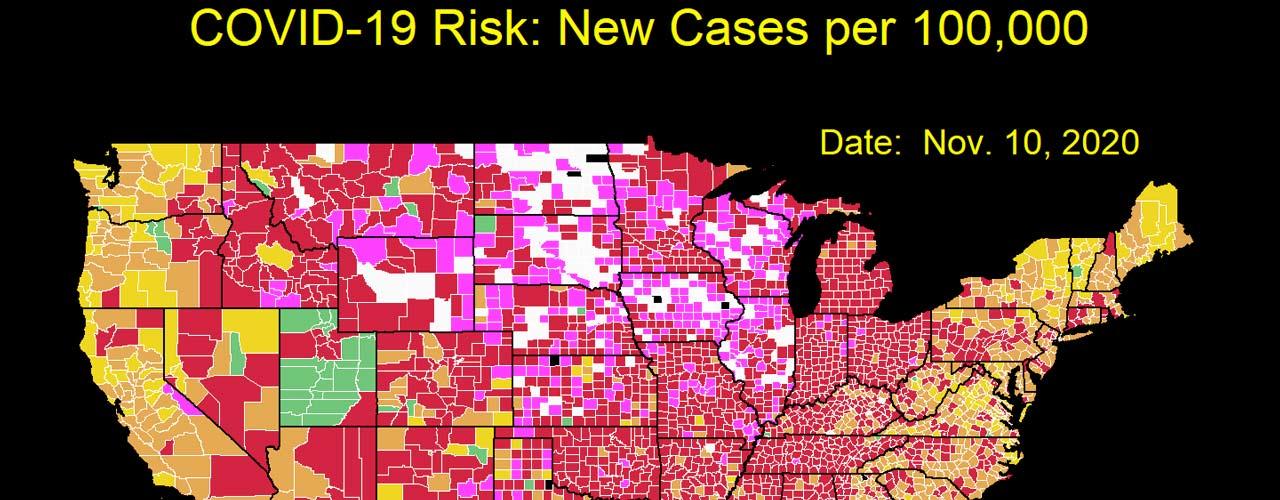 COVID visualization cases per 100,000
