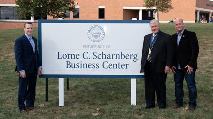 Dr. Thomas White, Lorne Scharnberg, and Mark Scharnberg at the future site of the Lorne C. Scharnberg Business Center