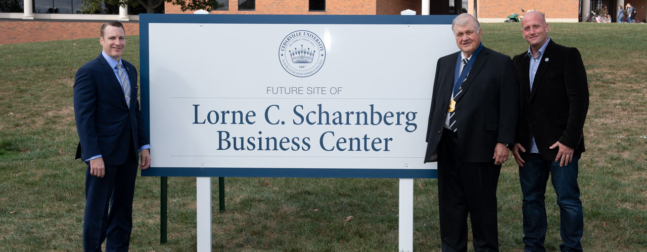 Dr. Thomas White, Lorne Scharnberg, and Mark Scharnberg at the future site of the Lorne C. Scharnberg Business Center