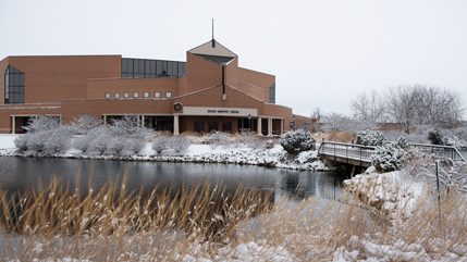 Snowy campus picture of the DMC