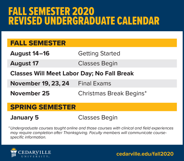 Revised fall 2020 schedule