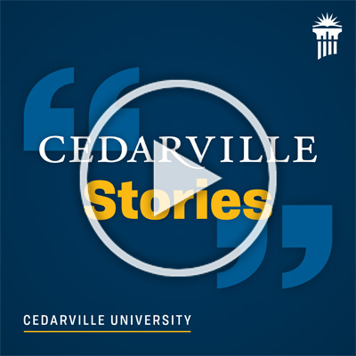 Cedarville Stories branded image with play button