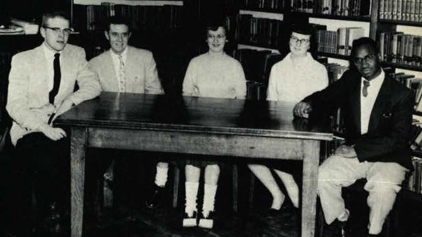 Sophomore class officers 1957 with James Parker Sr.