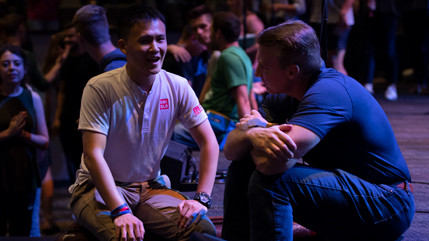 Dr. Thomas White talking with a student at Fall Bible Conference