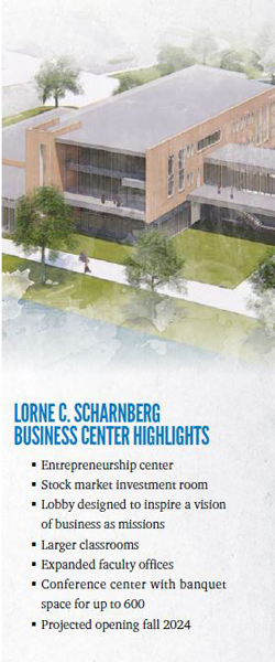Business center rendering with building features