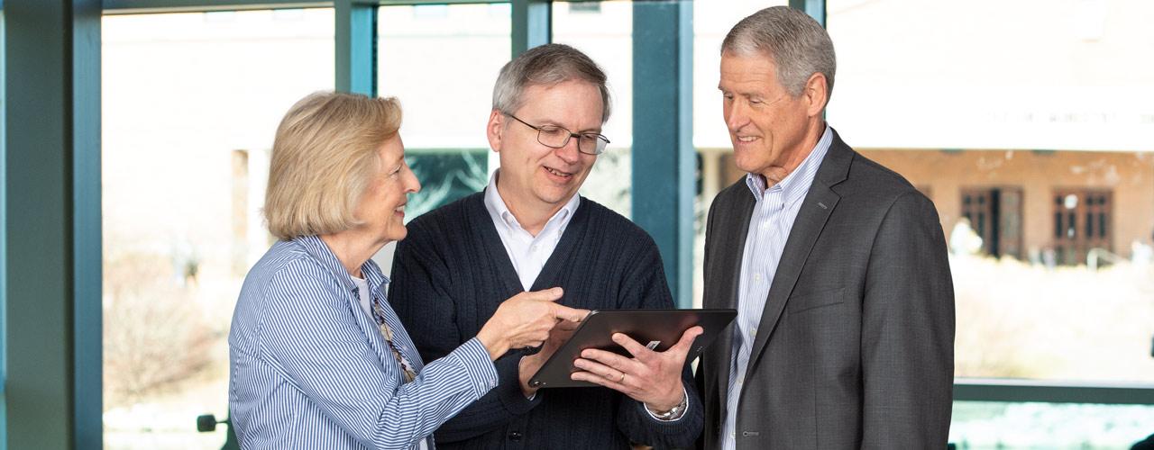 Anne Rich, Professor of Accounting; Chuck Hartman, Associate Professor of Business Law and Accounting; and Paul Schloemer, Professor of Accounting