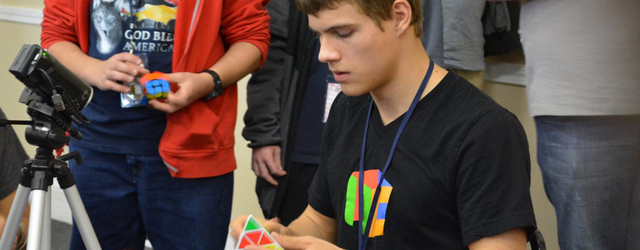 Drew Brads solving a Pyraminx Rubik's Cube