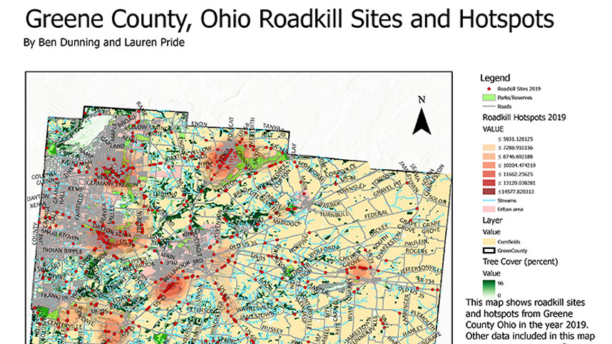 Greene County roadkill hotspots map