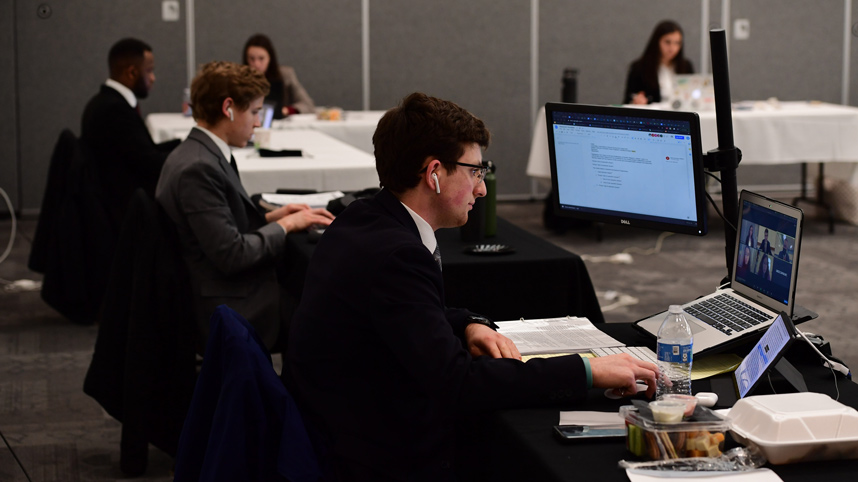 Model UN Team competing at Dayton virtual contest