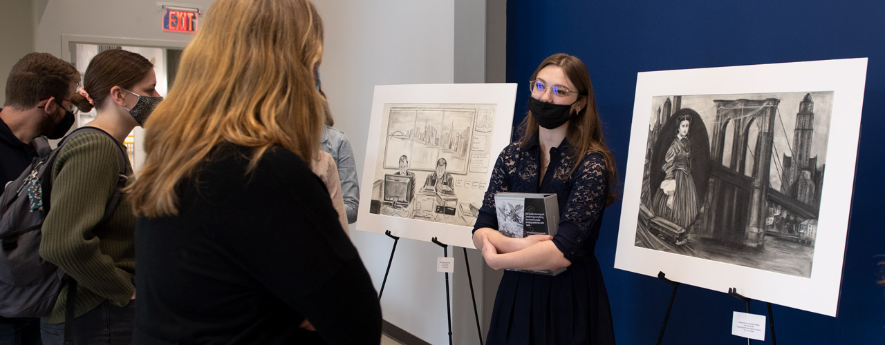Sierra Harriman talks about her artwork during the unveiling